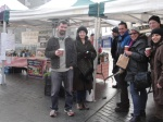 At Balbriggan Fish & Farmers' Market, Joe O'Brien, the local Green rep meeting local shoppers for a coffee