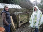 Jane Moore, head gardener at Bath Priory Hotel looking for more carpet to cover her compost heaps in the rain with Áine Neville of www.giyireland.com.