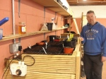 Horticultural Tutor, Des Farrell, at Coláiste Dúlaigh's potting shed, Kilbarrack, beside the heated seedbed bringing on pepper and tomato seeds.