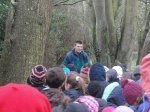 Dale Treadwell of RTÉ bring Tree Week alive for 2nd class pupils from Balbriggan on the Ash Walk at Sonairte, Laytown.