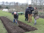 Trying a hand at planting potatoes using 'Aran Beds' in Sonairte's organic walled garden supervised by Dermot Carey (Sligo/Donegal)) & Denise Dunne (Naul GIY)