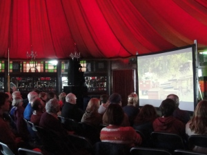 A good crowd of beekeepers and others watching 'Colony', the documentary on bee colony collapse in the Spiegeltent in Wexford recently.