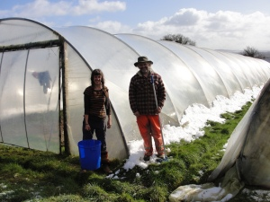 Jim and organic farming student Ali taking a break from scrubbing the polytunnel plastic clean after overnight snow in Co. Clare.
